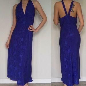 Vintage Val Mode Royal Blue Long Satin Nightgown